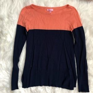 Lilly Pulitzer Peach and Navy Debra Sweater